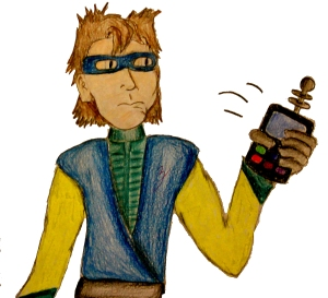 A sketch of Logan Zephyr, one of Adam's favorite comic book characters in Corgi Capers.